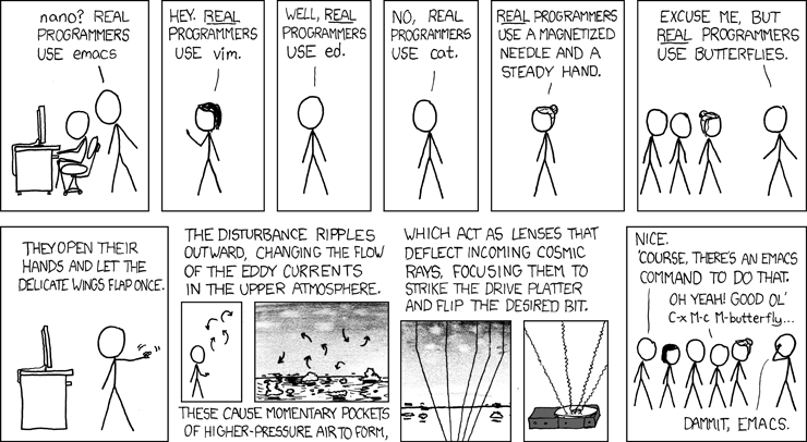 real programmers use vi - xkcd comic